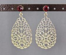 Red Gold dangle post earrings cut out teardrop filigree scroll oval teardrop
