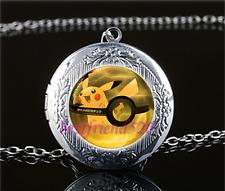 Pokemon Pikachu Pokeball Cabochon Glass Tibet Silver Locket Pendant Necklace
