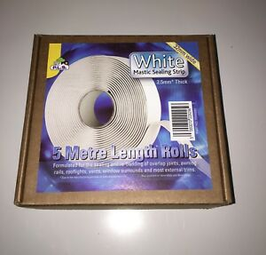 CARAVAN / MOTORHOME - White Mastic Sealing Strip 2.5Mm Thick X 32Mm Wide X 5 Mtr
