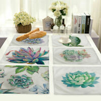 Succulent Plants Cotton Linen Insulation Placemat Dining Table Mat Home Kitchen