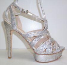 Pelle Moda Size 8.5 M MALIN Silver Silk Platform Heels Sandals New Womens Shoes