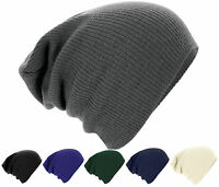 Mens Ladies Knitted Woolly Winter Oversized Slouch Beanie Hat Cap