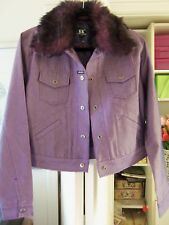 Beautiful KARL KANI Jean Style Jacket w/Removable Faux Fur Collar-Size Large-NEW