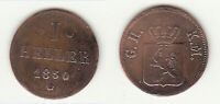 Cu 1 Heller 1850 Hessen-Darmstadt Ludwig III. AKS 132 gebraucht gereinigt