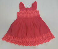 NWT Baby Gap Girls Size 3t or 4t Pink & Neon Coral Eyelet Flutter Sleeve Dress