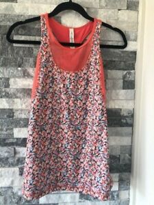 Women's LULULEMON Mesh With Me Floral Tank Top-Coral Orange-Size 6