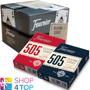 12 DECKS FOURNIER 505 PLASTIC COATED POKER PLAYING CARDS 6 RED 6 BLUE BOX CASE