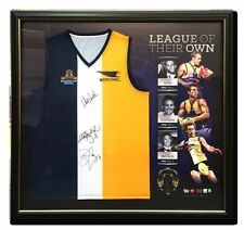 WEST COAST EAGLES JUDD COUSINS PRIDDIS HAND SIGNED FRAMED AFL BROWNLOW JUMPER