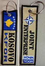 """Portachiave Commemorativo Ricamo Missione """"KFOR - KOSOVO"""" - (Originale)"""