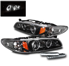 1997-2003 PONTIAC GRAND PRIX BLACK HALO PROJECTOR HEADLIGHT+WHITE LED BUMPER DRL