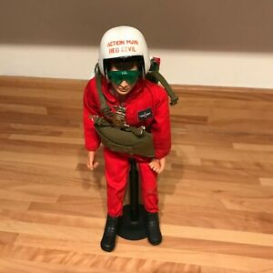 Vintage Genuine Action Man Red Devil Outfit with Parachute