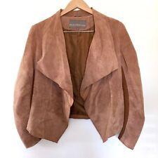 Bod Christensen Womens Tan Brown Suede Leather Cropped Moto Jacket Draped Medium