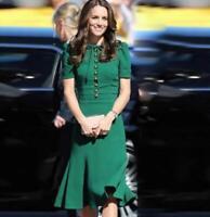 Occident fashion Meghan Markle Womens long-sleeve Falbala Silk dress Ballgown SZ
