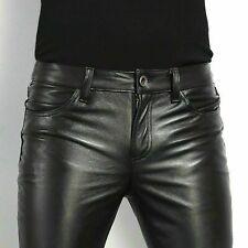 Pantalon noir en cuir de vachette pour hommes, coupe slim, pantalon en cuir...