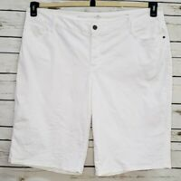 St Johns Bay Womens Bermuda Shorts Pockets Stretch 22W Denim White New