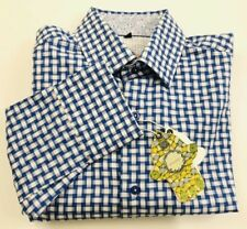 Luchiano Visconti Blue Gingham Men's LS Shirt, Size Small, NWT