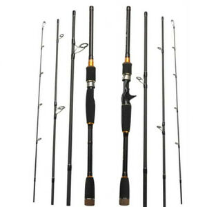 Fishing Rod 4 Section Carbon Spinning Poles Travel Rod Casting Fishing 2.1M-3.0M