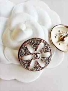 Authentic CHANEL Buttons Classic Logo, Stamped 25mm Designer Buttons Crystals
