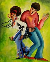 Collectible African American Gouache Painting by artist Tosh Fomby original art