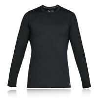 Under Armour Mens ColdGear Fitted Crew Top Black Sports Gym Running Breathable