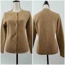 Land's End Cardigan Sweater Sz M 10-12 Brown Ribbed Design Gold Buttons