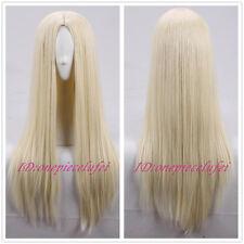 "29"" Long Light blonde No Bangs straight Fashion Hair Wig cosplay wig +a wig cap"