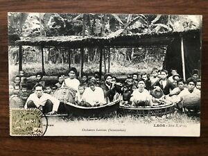 SOUTHEAST ASIA CAMBODGE CAMBODIA OLD POSTCARD MUSIC MUSICIAN BAND 1908 !!