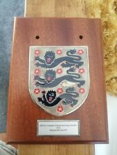 Actual match worn issued England plaque swapped by captains rare vintage mancave