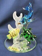 Dolphin Turtle & Fish in Coral Glass Sea Life Figurine