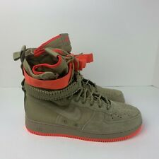 NIKE SF AF1 Air Force 1 Khaki Rush Coral Suede High-Top Sneaker 864024-205