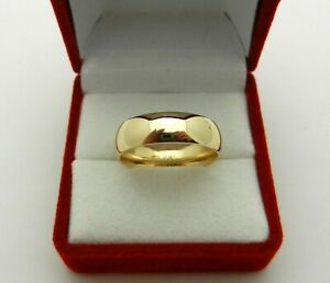 Solid 14k Yellow Gold Comfort Fit Wedding Band Ring 6mm wide 6.4 gr size 8.5