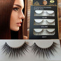 3Pairs Make Up 3D Natural Soft Handmade Thick Long Cross False Fake Eyelashes SS