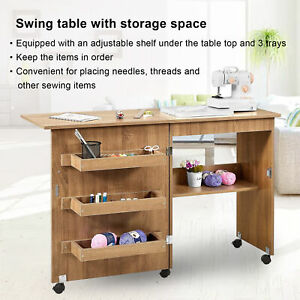 Sewing Table Folding Craft Cart Wood Desk with Storage Box Lockable Casters UK