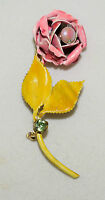Vintage Original by Robert Pink Enamel Rose Pin with Faux Pearl & Yellow Leaves