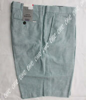 Marks & Spencer Mens Linen Blend Tailored Fit Chambray Chino Shorts Turquoise