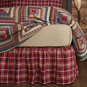 VHC Brands Rustic King Bed Skirt Red Gathered Braxton Cotton Plaid Bedroom Decor
