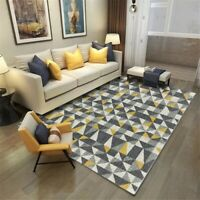Nordic Yellow Dark Gray Geometry Pattern Carpet  Antislip Rug Mat Hallway Carpet