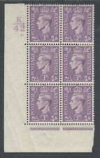 Great Britain Sc 240 Mlh. 1938 3p purple Kgvi, K/42 Cylinder Block of 6