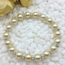 NEW Wholesale Fashion Jewelry 8mm Champagne water Pearl Beads Stretch Bracelet