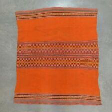 Vintage BOLIVIAN Handwoven Ceremonial Wool MANTA Blanket / Orange