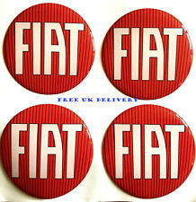 "4 pcs. set 55 mm.""Fiat"" red&white Centre car wheel stickers,emblems,badges"