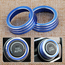 2x Blue AC Air Condition Control Switch Cover Knob Ring Trim Fit For Honda Civic