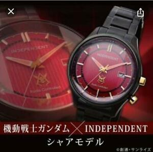 Gundam INDEPENDENT Char Model Solar Watch Red w/Box from Japan FS
