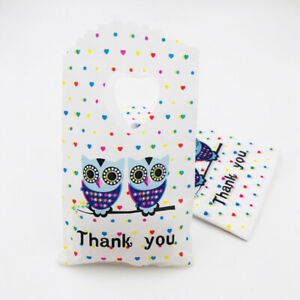 50pcs Owl Plastic Pouches Gift Bags Wedding Party Jewelry Packing Bag 15x9cm