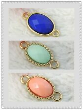 Gold Tone Tray Blue Green Pink Oval Glass Crystal Filled Pendant Connector 12pcs