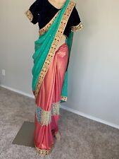 USA Indian wedding wear  saree blouse designer bollywood sari  Easy To Fold
