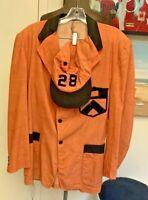1928 Princeton University~RAREAntique Orange Black Fraternity~Reunion Jacket+hat