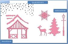 Marianne Design Stamp & Die Combo Set CHRISTMAS VILLAGE CHALET/DECO ~1328, 1330