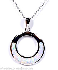 White Fire Opal Inlay Genuine 925 Sterling Silver Pendant Necklace 18''