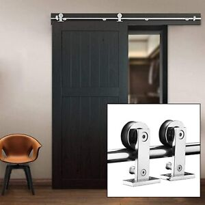 Heavy Duty 6.6' Stainless Steel Single Door Sliding Barn Door Hardware Track Kit